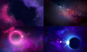 绚丽色彩夜空繁星背景创意矢量素材