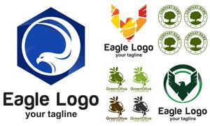 老鹰与橄榄等图案标志设计矢量素材