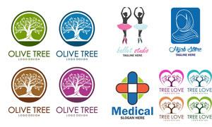 大树与芭蕾舞者等标志设计矢量素材