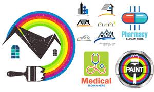 房子与听诊器等标志创意设计矢量图