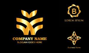 金色质感图案标志创意设计矢量素材