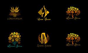 树木与花朵等图案创意标志矢量素材