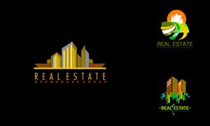房屋建筑物等房地产标志创意矢量图