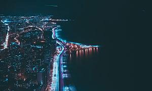 夜晚美丽的海岸线风光摄影图片