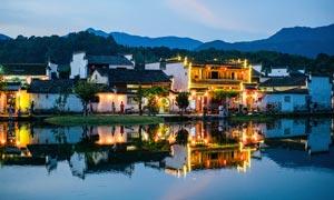 江南徽派建筑美丽夜景摄影图片