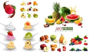 草莓与桃子等水果主题设计矢量素材