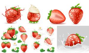 草莓小花与飞溅的牛奶主题矢量素材
