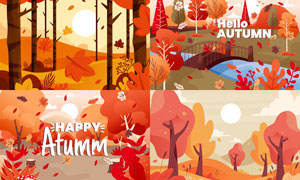 树木落叶与小桥等插画创意矢量素材