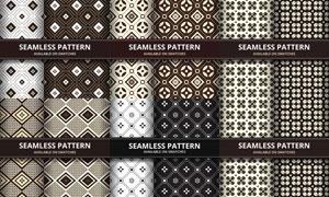 无缝拼贴样式黑白图案主题矢量素材