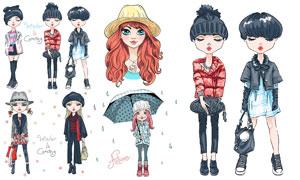 时尚服饰美女人物模特插画矢量素材
