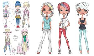 时尚穿衣打扮美女人物插画矢量素材