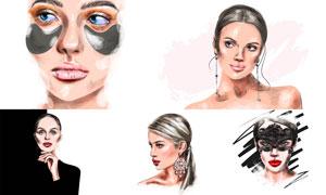 水彩效果时尚美女插画创意矢量素材
