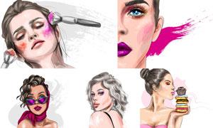 水彩创意妆容美女人物插画矢量素材