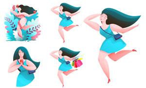 与蛇共舞的女性人物等插画矢量素材
