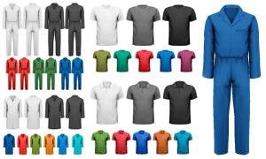 短袖衫与工作服等视觉元素矢量素材