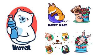 狐狸兔子大熊猫等卡通动物矢量素材