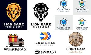 立方体与狮子礼物等标志设计矢量图