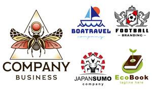 帆船与飞马等图案标志创意矢量素材