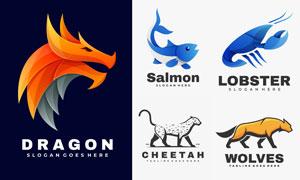 龙与猎豹;等动物图案标志设计矢量图