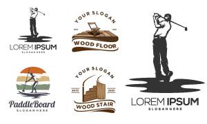 高尔夫运动人物剪影等标志矢量素材