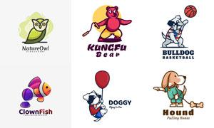 功夫熊与猫头鹰等卡通动物标志素材