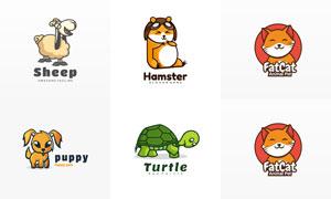 仓鼠与绵羊等卡通动物标志矢量素材