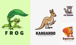 松鼠与青蛙等动物创意标志矢量素材