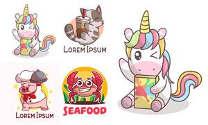 小猪与螃蟹等卡通动物标志矢量素材