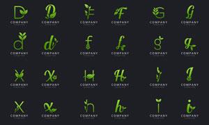 绿叶藤蔓装饰英文字母标志矢量素材
