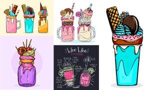 饼干冰淇淋与鸡尾酒等创意矢量素材