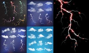 闪电与白色云朵等元素主题矢量素材