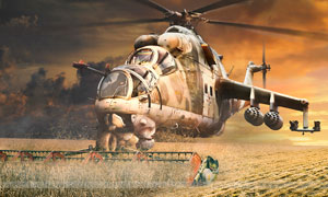 米24武裝直升機攝影圖片素材