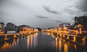 杭州夢想小鎮美麗夜景攝影圖片