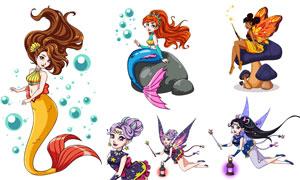 魔法仙子与美人鱼插画创意矢量素材