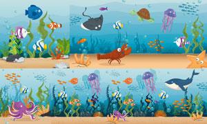 小丑鱼等海底生物主题设计矢量素材