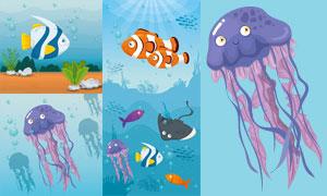 水母与游鱼等海底生物主题矢量素材