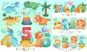 萌态可掬的恐龙们动物创意矢量素材
