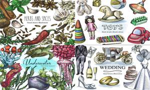 调味物料与海洋生物等创意矢量素材