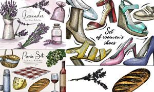 手绘素描薰衣草与高跟鞋等矢量素材