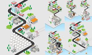 房子与道路等城市规划创意矢量素材