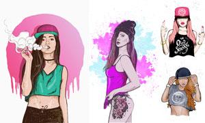 长发美女模特插画人物创意矢量素材