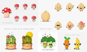 仙人球与蘑菇等卡通形象创意矢量图