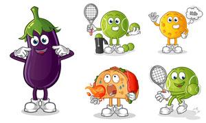 茄子与网球等卡通形象创意矢量素材