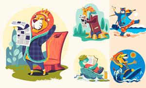 冲浪的狮子等卡通动物创意矢量素材