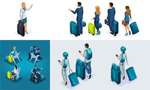 商务出差旅行人物等距模型矢量素材