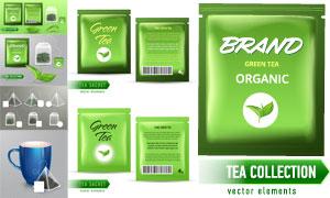 杯子与有机绿茶茶包等设计矢量素材