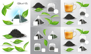 茶杯茶叶与茶包等主题设计矢量素材
