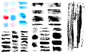 水彩墨迹与黑白泼墨效果等矢量素材