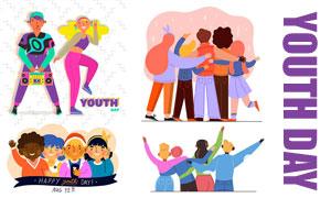 活力四射的人物青年節插畫矢量素材