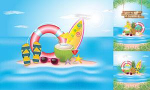海星花朵與沙灘等夏日創意矢量素材